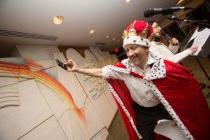 Rabbi Roos at Purim Spiel