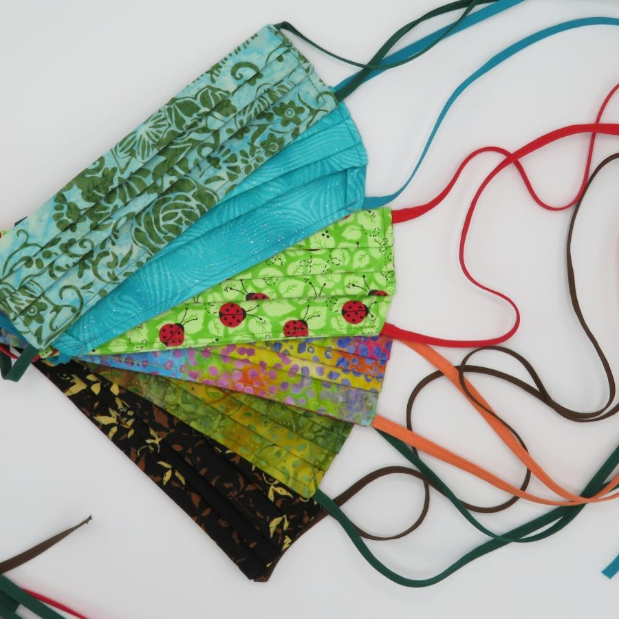 Fabric bowls and trays, face masks, tablerunners, and placemats.